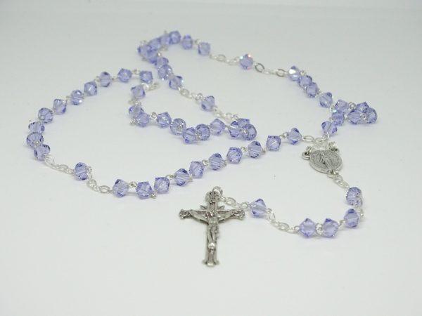 Rosario argento e cristallo Swarovsky colore lilla