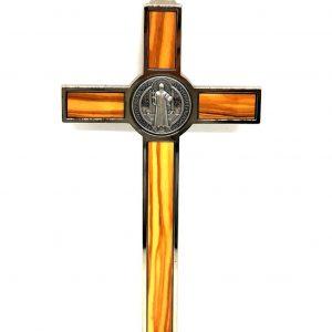 Croce-Medaglia San Benedetto legno d'ulivo retro