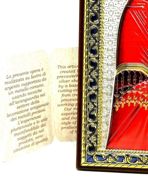 Quadro Argento 925 Madonna col bambino particolare