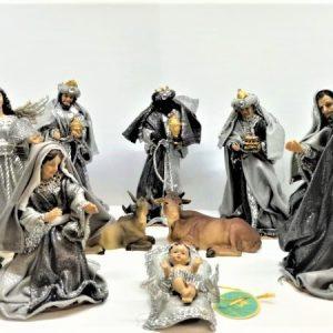 Presepe completo 10 statue resina e stoffa 17 cm