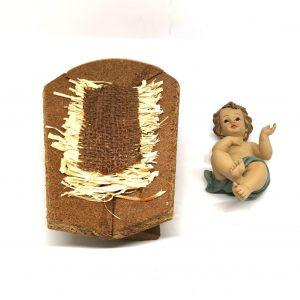 Gesù bambino 16 cm con culla resina e paglia 2