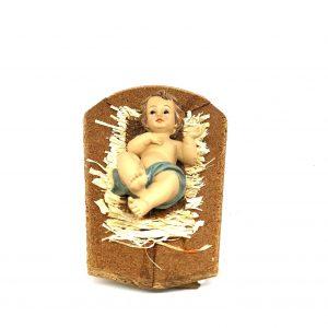 Gesù bambino 16 cm con culla resina e paglia