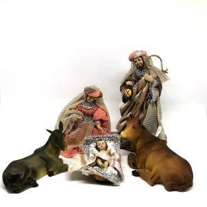Presepe completo 10 soggetti resina e stoffa 17 cm natività