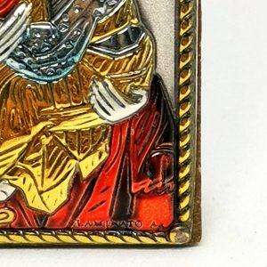 quadro argento925 madonna con bambino 4x6 particolare