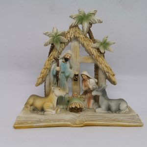 Natività su libro in resina