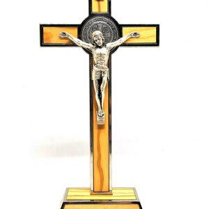 Croce San Benedetto legno d'ulivo con base