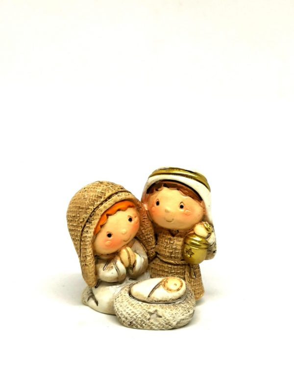Sacra Famiglia in resina colorata linea bambini