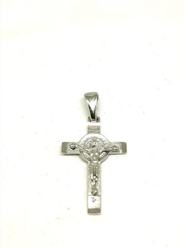 Croce pendente S. Benedetto argento 925