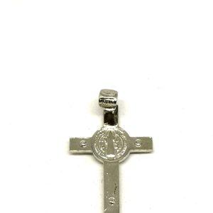 Croce pendente S. Benedetto argento 925 retro