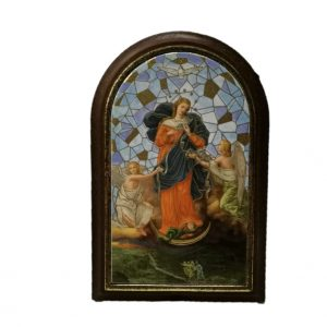 Quadretto in legno Maria che scioglie i nodi