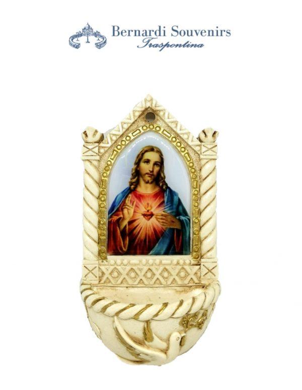 Acquasantiera con Sacro Cuore di Gesù